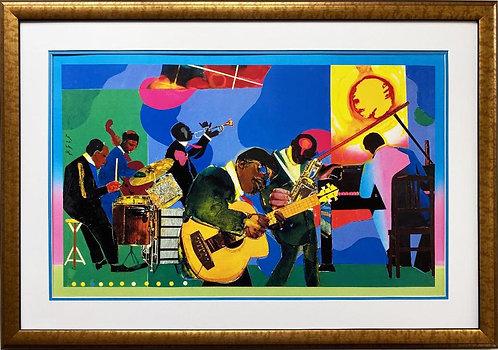 "Romare Bearden ""Jammin' at the Savoy"" CUSTOM FRAMED Art African American New"
