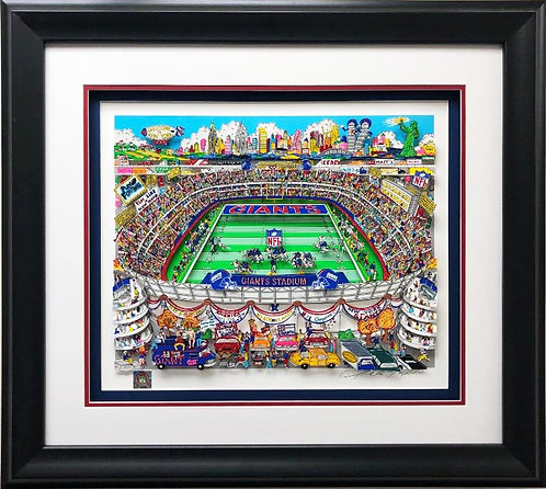 "Charles Fazzino ""New York Giants"" FRAMED Signed & # Pop Art"