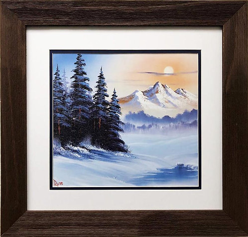 """Bob Ross """"Snow Blanket"""" CUSTOM FRAMED ART"""