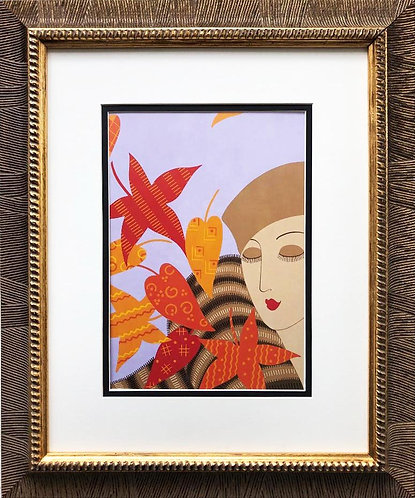 "Erte ""Autumn"" CUSTOM FRAMED Print"