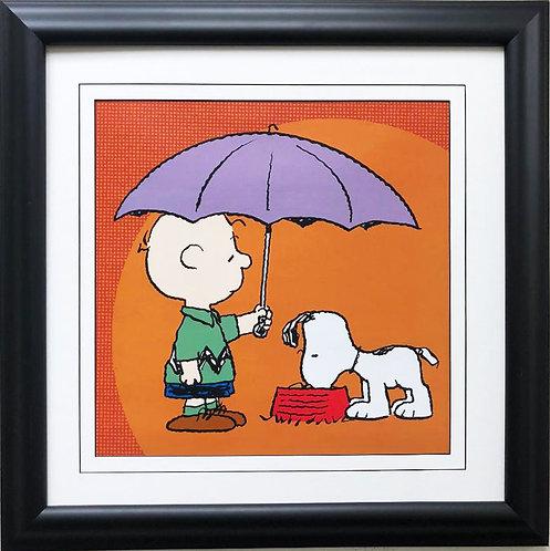 "Charles Schulz Peanuts ""April Showers"" NEW CUSTOM FRAMED ART Print"