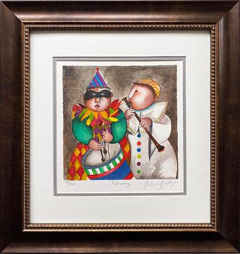 """G.R. Boulanger """"February"""" Limited Ed Litho FRAMED ART"""