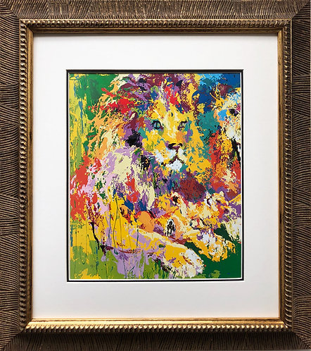 "LeRoy Neiman ""Lion's Pride""   NEW Framed Art Jungle Cat Africa Lion"