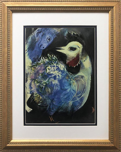 """Marc Chagall """"Flowers and Feathers"""" New CUSTOM FRAMED Art"""
