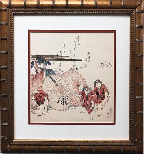 "Katsushika Hokusai ""Lost Love Shells"" New Custom Framed Asian Art"
