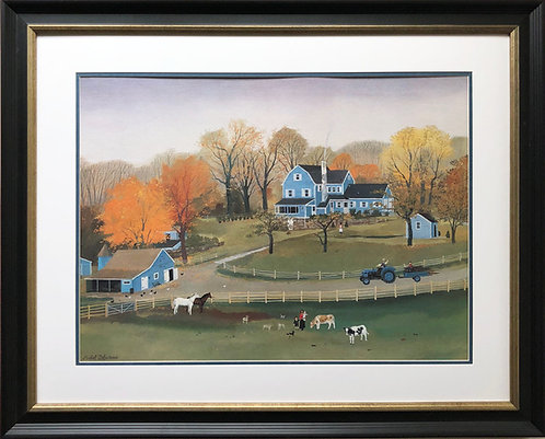 "Michel Delacroix ""Cornerstone Farm"" Custom Framed French Primitive Art Litho"