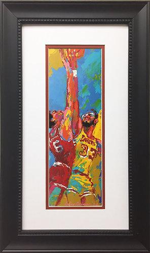 """LeRoy Neiman """"Dr. J & Kareem"""" Custom FRAMED ART Basketball Erving 76ers Lakers"""