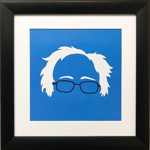 "Bernie Sanders ""Silhouette on Blue"" Framed Art Print"