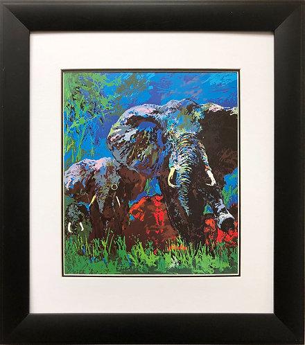 "LeRoy Neiman ""Elephant Stampede '"" CUSTOM FRAMED Art Print Jungle Animal Africa"
