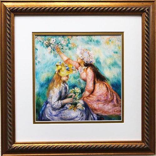 """Pierre Auguste Renoir """"Girls Picking Flowers in the Meadow"""" Framed Art Print"""