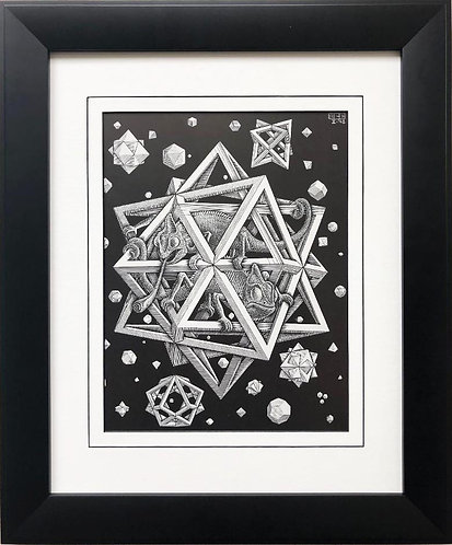 """M.C.Escher """"Stars"""" 1948 CUSTOM FRAMED Art"""