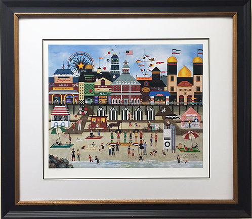 """Jane Wooster Scott """"Footprints in the Sand"""" Custom FRAMED Lithograph Hand Signed"""