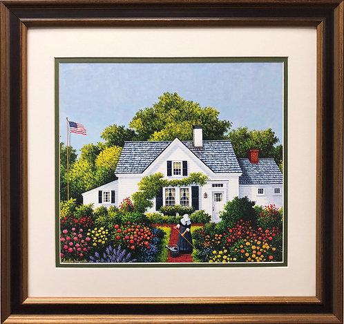 "Charles Wysocki ""Elizabeth's World"" New CUSTOM FRAMED Art Americana Flowers Flag"