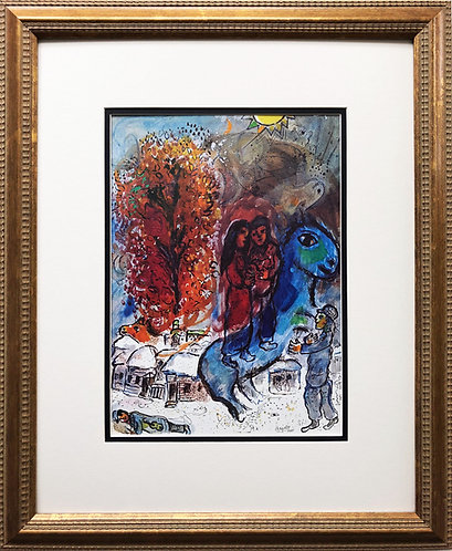 "Marc Chagall ""Au Village"" Newly CUSTOM FRAMED Rare Offset Lithograph"