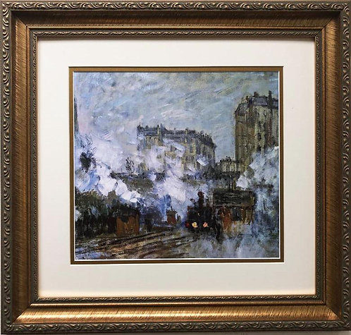 """Claude Monet """"Exterior of the Gare Aint-Lazare,Arrival of a Train"""" FRAMED Art"""