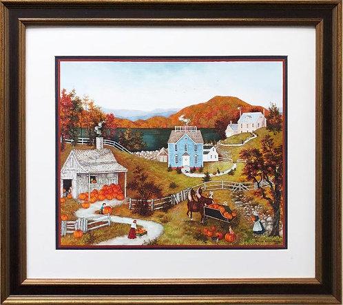 """Linda Nelson Stocks """"Gathering the Pumpkins"""" FRAMED Art"""