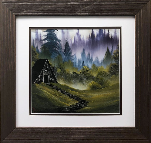 "Bob Ross ""Cabin in the Woods"" Happy Trees CUSTOM FRAMED ART Nature  Print Forest"