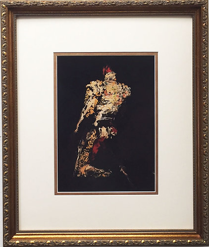 "LeRoy Neiman ""Kneeling Matador"" NEWLY CUSTOM FRAMED Art print - Bullfighter Bull"