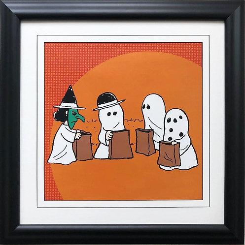 "Charles Schulz Peanuts ""Peanuts Gang Halloween"" NEW CUSTOM FRAMED ART"
