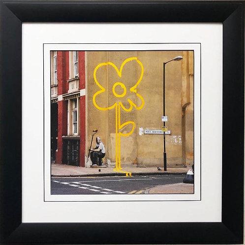 """BANKSY """"Yellow Lines Flower Painter"""" New FRAMED Art"""