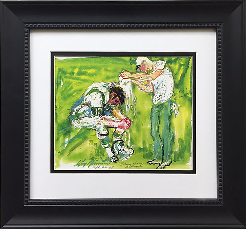 "LeRoy Neiman ""Joe Namath - Birmingham Alabama"" CUSTOM FRAMED ART PRINT NY JETS"