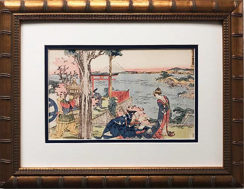 "Katsushika Hokusai ""Woodcut"" 1806 New Custom Framed Asian Art"
