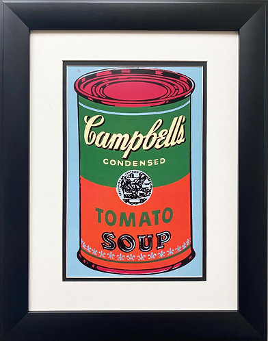 "Andy Warhol ""Campbell's Soup Can"" (green/red) CUSTOM FRAMED Pop Art"