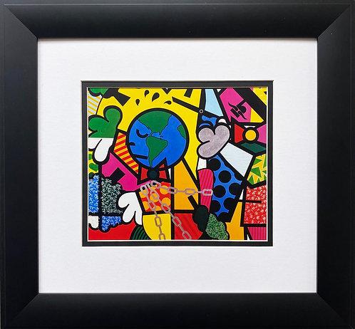 "Romero Britto ""Cutting Trees"" CUSTOM FRAMED Pop Art"