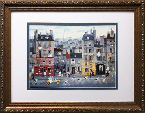 "Michel Delacroix ""La Course""  CUSTOM FRAMED Primitive Art Paris France Street"