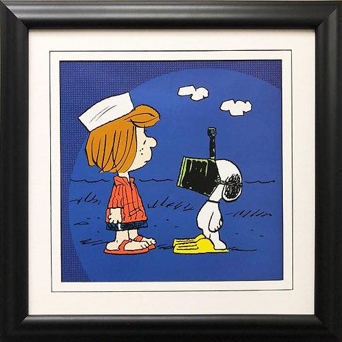 "Charles Schulz Peanuts ""Snoopy Ready to Swim"" NEW CUSTOM FRAMED ART"