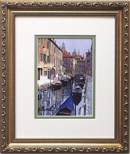 """Guido Borelli - """"Le Barche Sul Canale""""  Hand Signed Lithograph - Venice, Italy"""