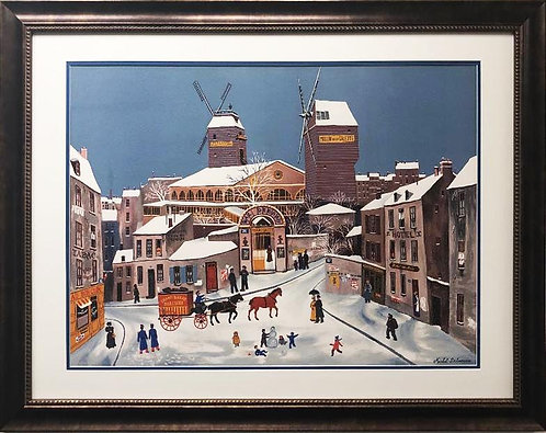 "Michel Delacroix ""Moulin de la Galette"" Framed Lithograph Art"