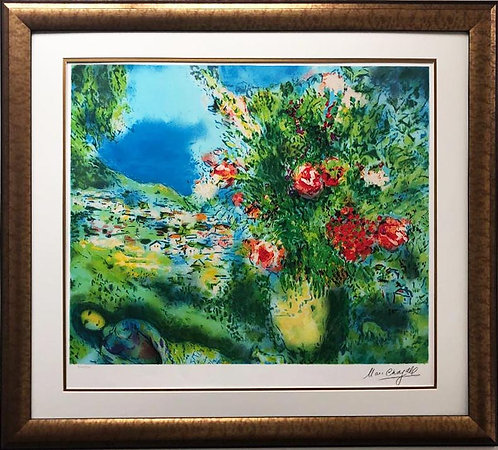 """Marc Chagall """"Paysage"""" RARE Custom Framed Art Limited Offset Lithograph"""