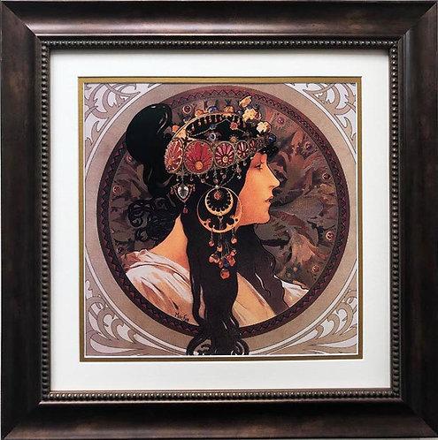 """Alphonse Mucha """"Tetes Byzantines: Brunette"""" (detail) CUSTOM FRAMED ART"""