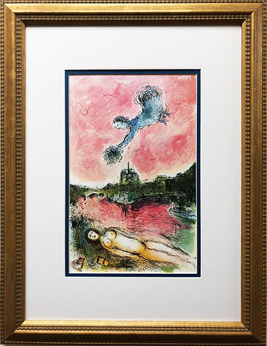 "Marc Chagall ""Vue Sur Notre Dame"" Newly CUSTOM FRAMED Rare Offset Lithograph"