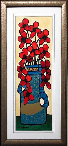 """Avi Ben Simhon """"Red Blossoms I"""" Framed Hand Signed Israeli Art"""