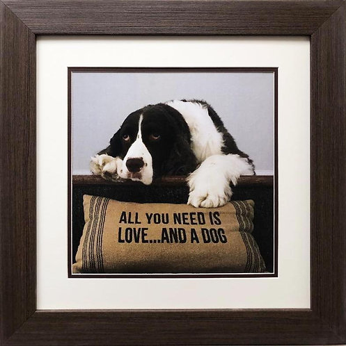 "K. Lowenkron ""All You Need is Love... and a Dog"" New CUSTOM FRAMED Art"
