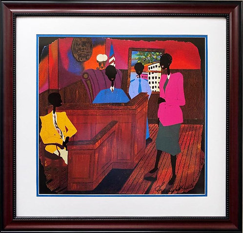"""Leroy Campbell """"Bone Justice"""" Hand Signed African American Art"""
