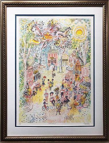 """Charles Cobelle """"Main Street"""" CUSTOM FRAMED New Art Hand Signed"""