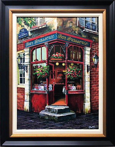 "Anatoly Metlan ""Pause Cafe"" Framed Hand Signed Art"
