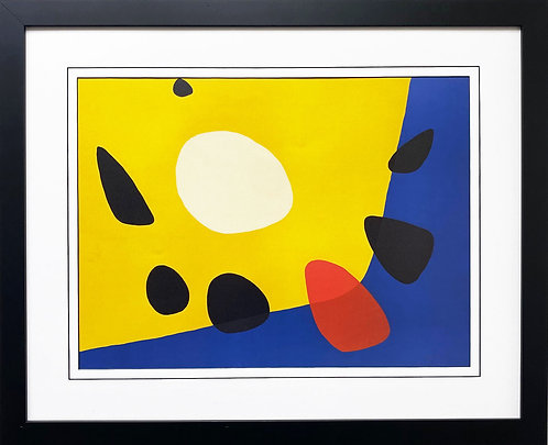 "Alexander Calder ""Untitled"" 1963 (Yellow & Blue) NEW CUSTOM FRAMED Abstract Art"