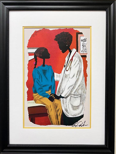 """Leroy Campbell """"Bone Doctor"""" Hand Signed African American Art"""