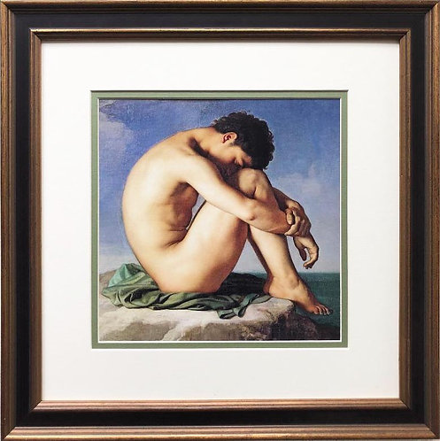 """Hippolyte Flandrin """"Naked Young Man Sitting by the Sea"""" Framed Art Print"""