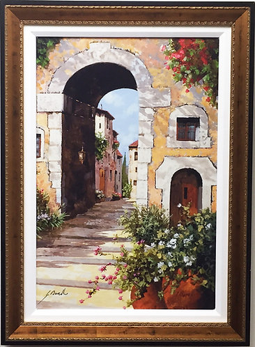 "Guido Borelli - ""L'Arco Del Borgo"" Italy Hand Signed #'d GICLEE on Canvas"