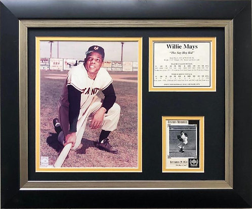 "Baseball ""Willie Mays- The Say Hey Kid"" Framed Art with photo/stats"