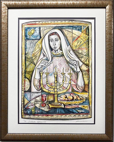 "Irving Amen ""Sabbath Blessing"" FRAMED Hand Signed Limited Edition Jewish Art"