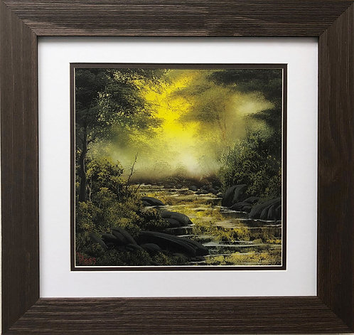 "Bob Ross ""Mid Summer Glow"" Happy Trees CUSTOM FRAMED ART Nature  Print Forest"