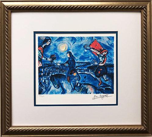 "Marc Chagall ""Lovers Over Paris"" Newly CUSTOM FRAMED Art Rare Limited Edition"