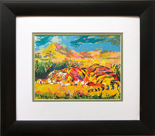 "LeRoy Neiman ""Delacroix's Tiger '""  NEW Custom Framed Art Jungle Cat Africa"