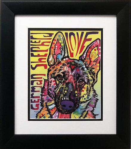 """Dean Russo """"German Shepherd Love"""" FRAMED Pop Art"""